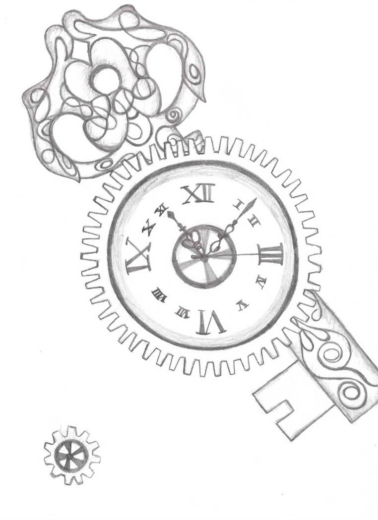 Steampunk Clock and Key by randomtechnotofu on DeviantArt