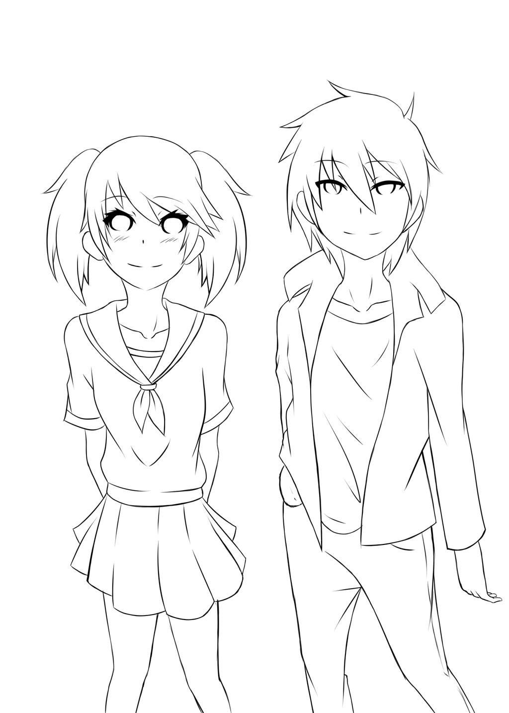 Lineart Anime Boy : Lineart girl and boy by shizuka chan on deviantart