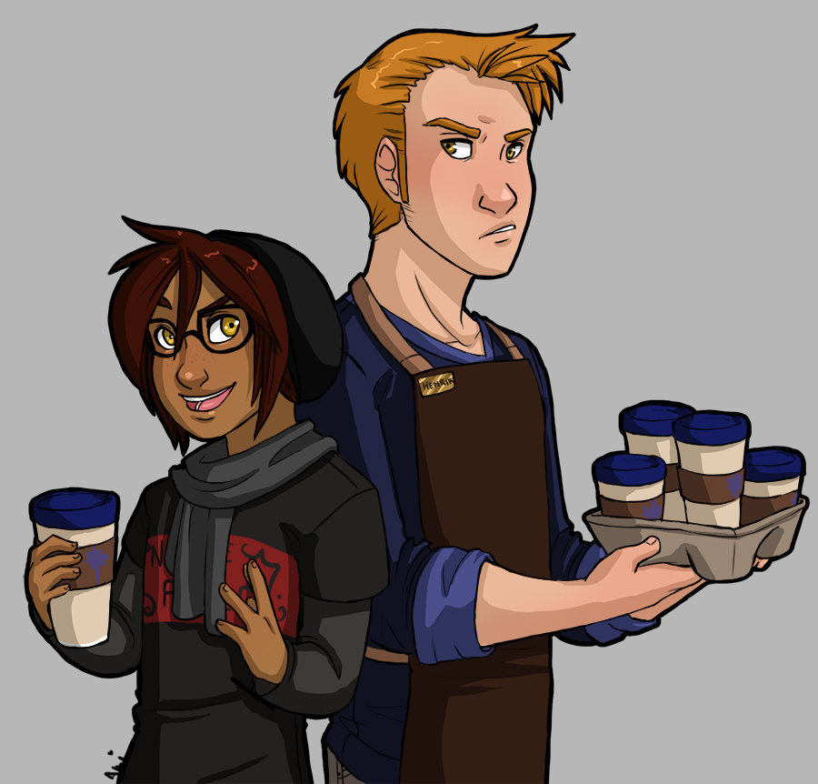 Thief and Guard Coffee Shop AU by akiwitch