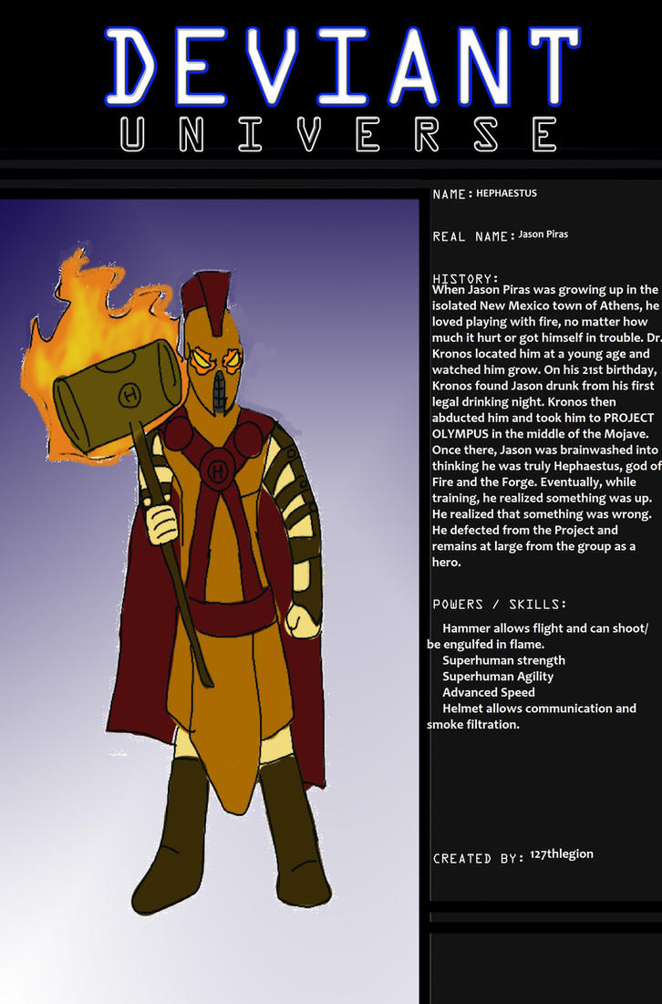 DEVIANT UNIVERSE: HEPHAESTUS by 127thlegion