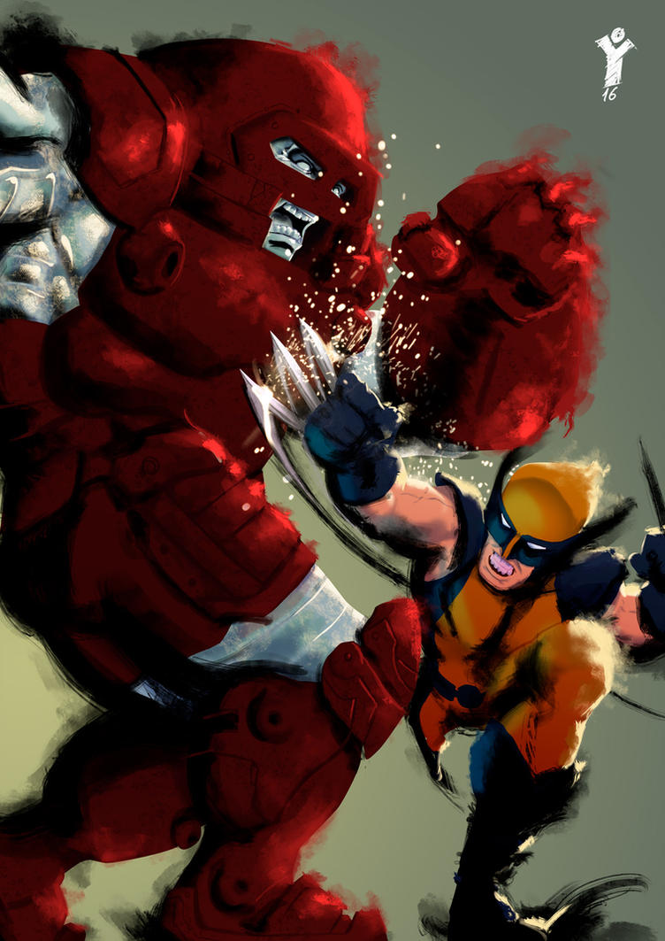 Wolverine VS Juggernaut by SkuLL-Inc