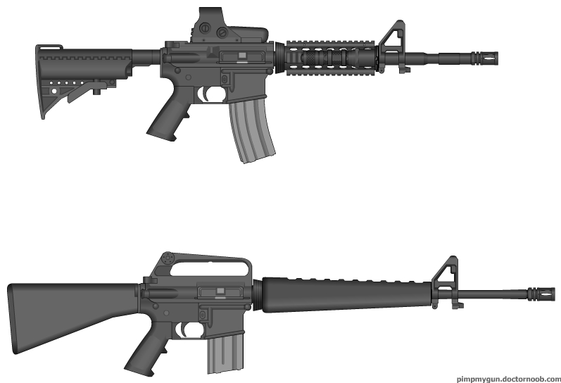 M16A1 vs M4 Modded by HellJumperGrif on DeviantArt
