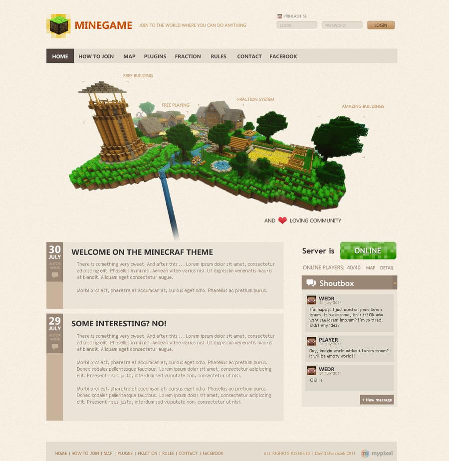 DeviantArt: More Like Minegame Wordpress theme by igrenic