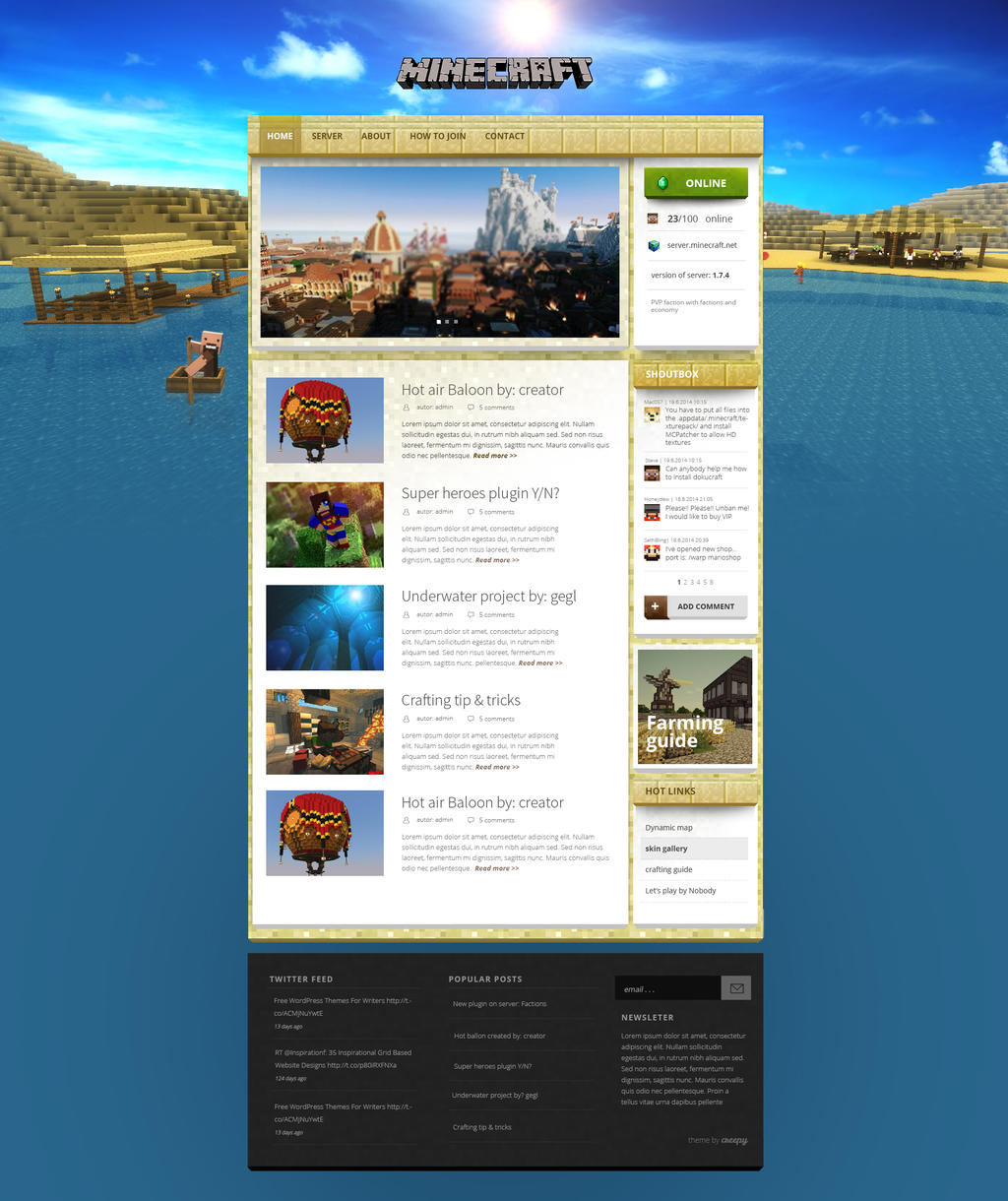 Magicraft - wordpress theme for minecraft = SAND by igrenic on ...