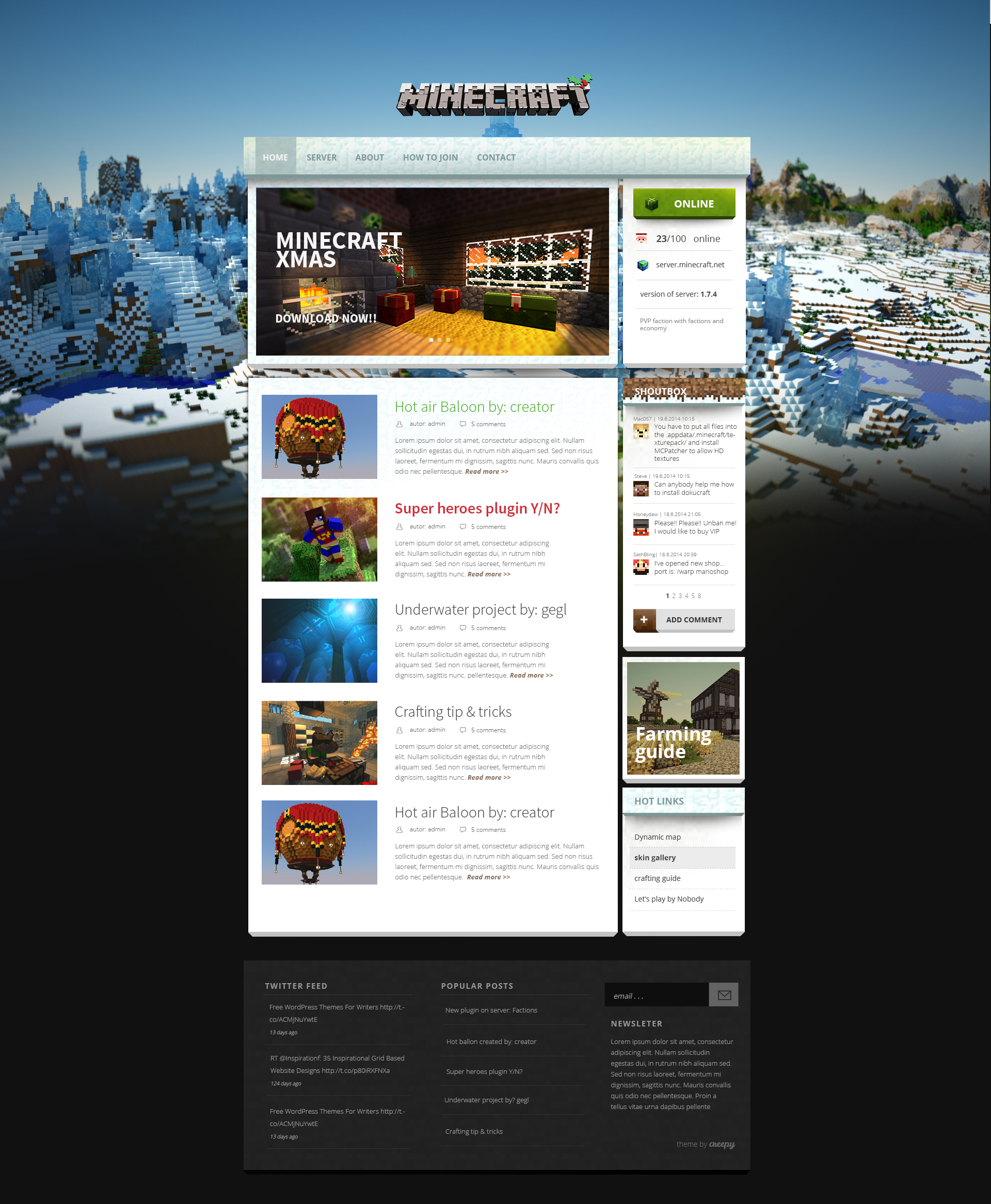 Minecraft Wordpress Template - Wordpress Themes Gala, The Big Archive