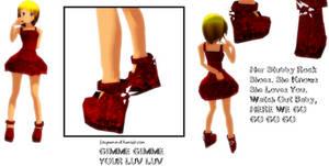 MMD Shoes S002 - Crimson Wedges
