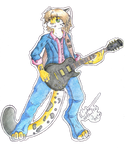 A.J. playing a Les Paul custom guitar