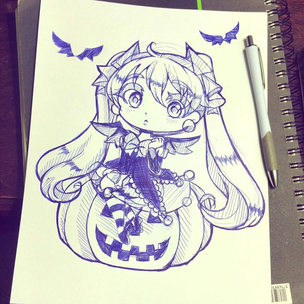 Inktober Halloween Miku! by HatsuneSnow