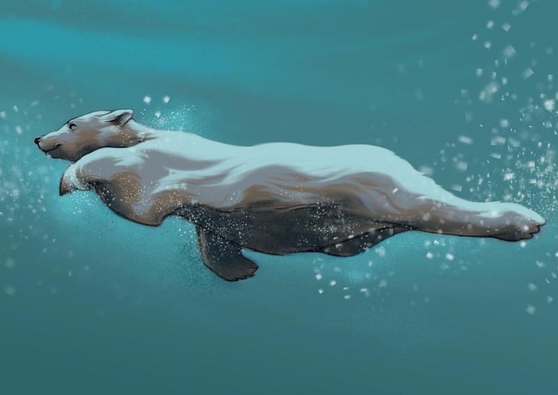 Swimming polar bear by LumiLumi