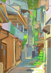 Up the Stairs Study by AceManOnTheScene