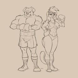 Deborah and Boris in cartoon style.