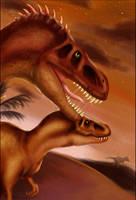 :Tarbosaurus Hunt: by shazy