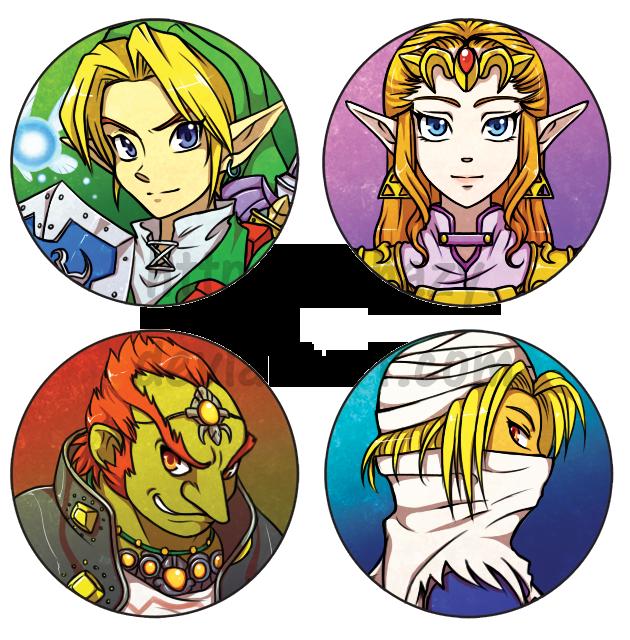 Legend of Zelda Button-badges -for sale- by shazy