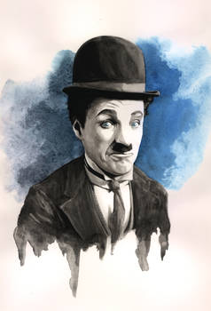 Charlie Chaplin Ink Wash and Watercolour Painting