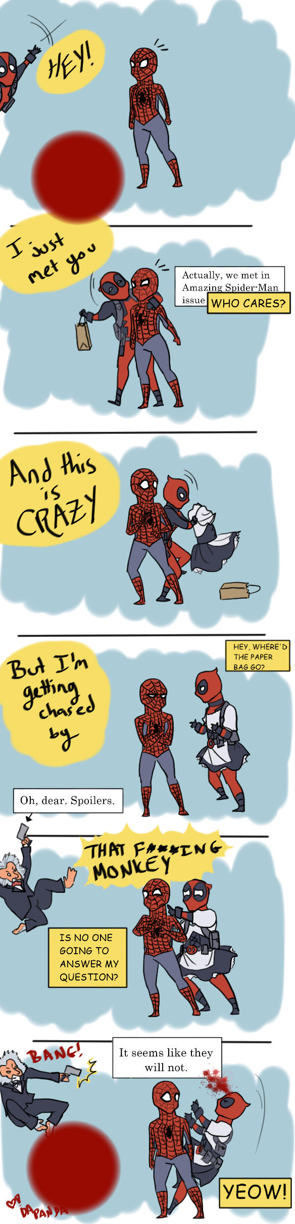 Spidey and Deadpool: Save Me, Maybe? by DaPandaBanda