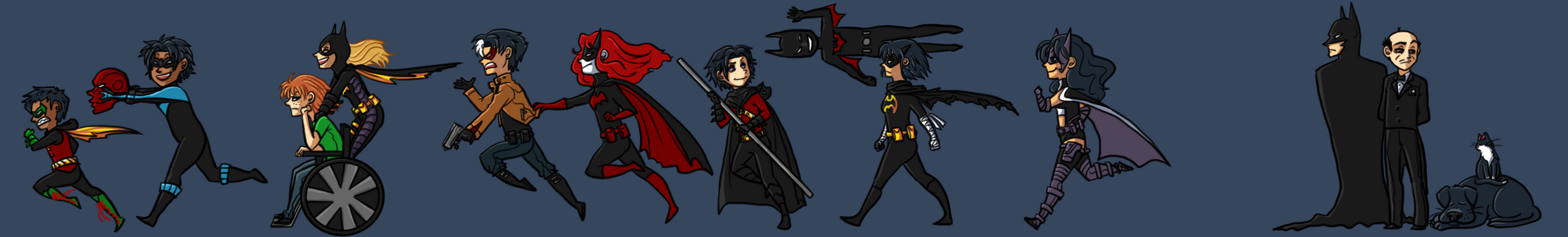 Batfam on Parade by DaPandaBanda