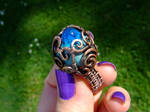 Blue Forest Lake copper wire wrapped ring