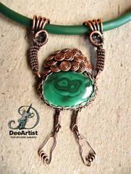 George of The Jungle, wirewrap Malachite necklace
