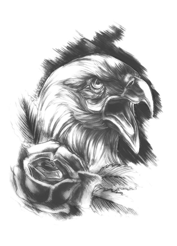 Sketched eagle tattoo by nevergonnatakeme on deviantart for Black eagle tattoo shop