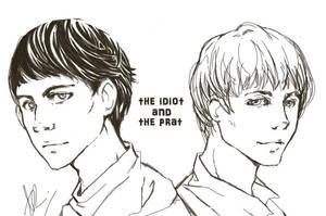 Sketch: Merlin and Arthur by thepurplehawk