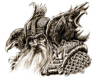 Odin, Hugin and Munin by vikingmyke