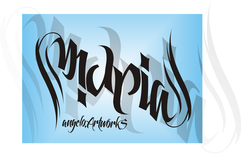 maria 39 s ambigram name by musaangelo on deviantart. Black Bedroom Furniture Sets. Home Design Ideas