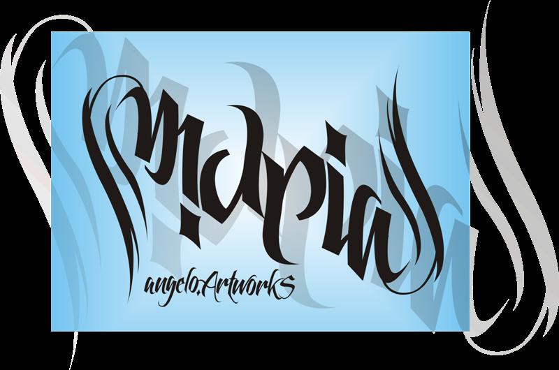 maria 39 s ambigram name by musaangelo on deviantart. Black Bedroom Furniture Sets. Home Design Ideas