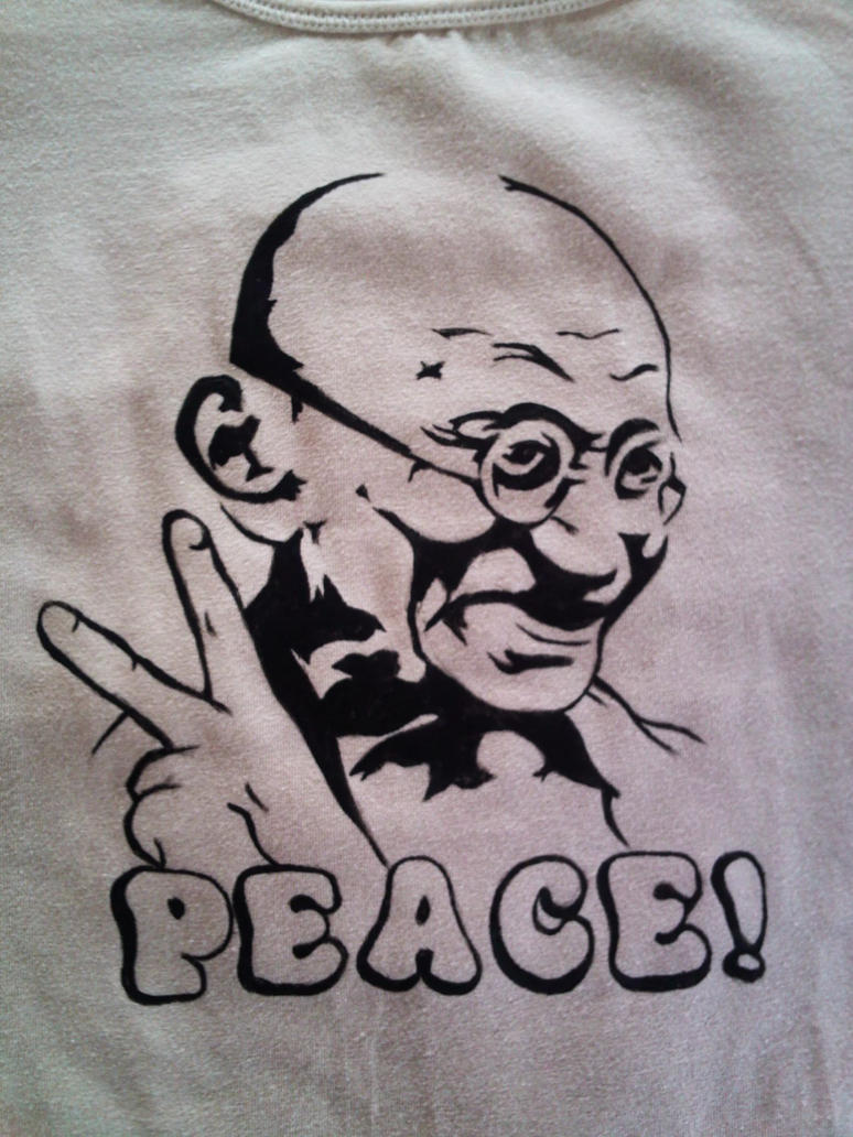 Painted t-shirt Gandhi by keopsa