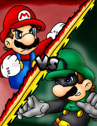 Mr.L vs Mario by Nintendrawer