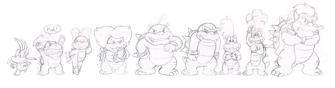 Kommission: Koopa family line up by Nintendrawer