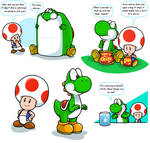 Hey, it's Yoshi and Toad