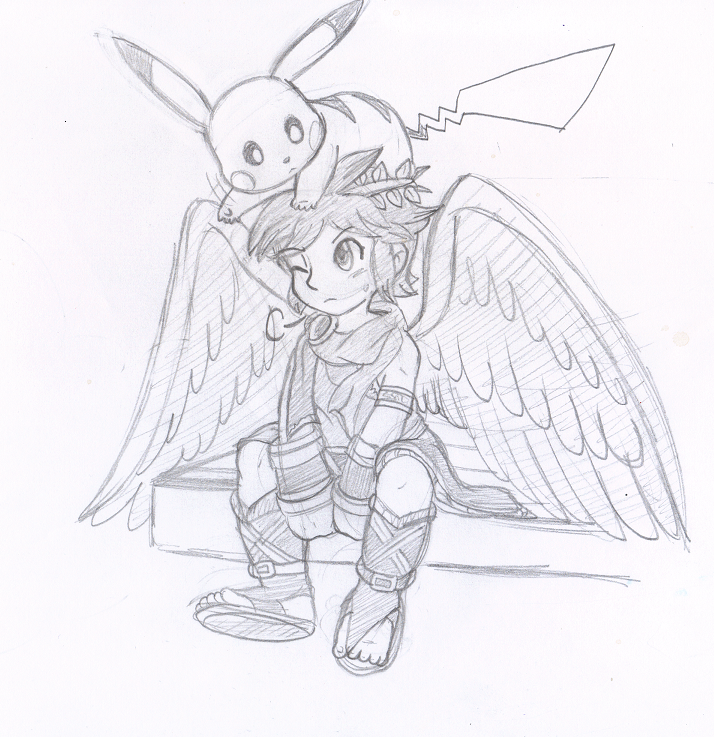 Wusagi2 597 14 Commish Dark Pit And Pikachu By Nintendrawer