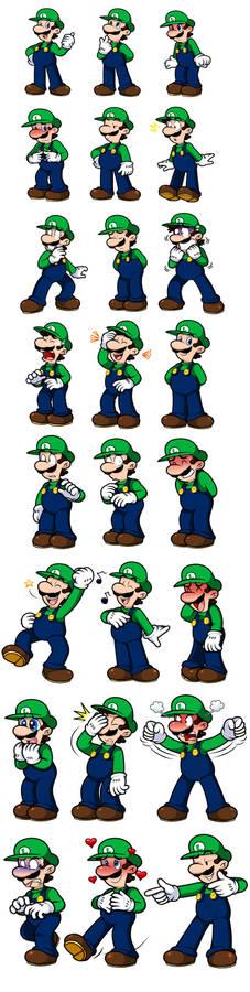 Ask Mario: Luigi Expression Sheet 1