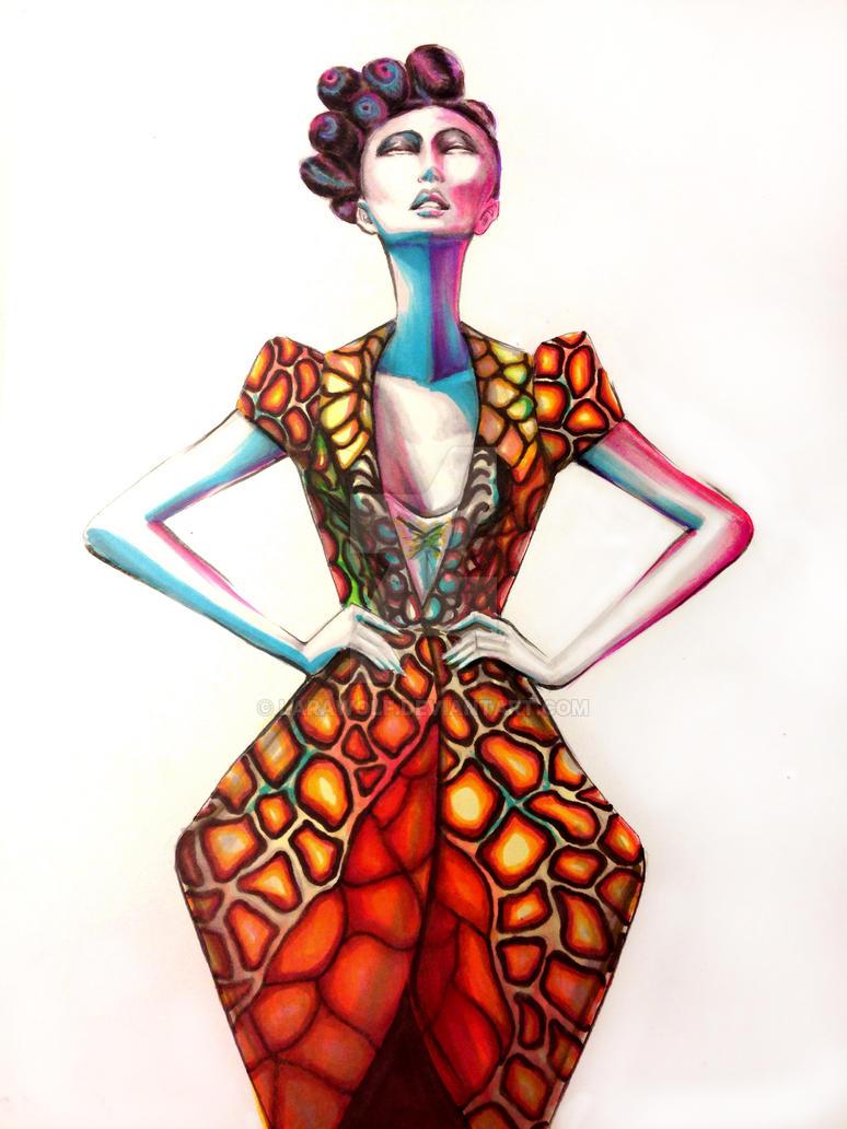 Orange Dress fashion illustration