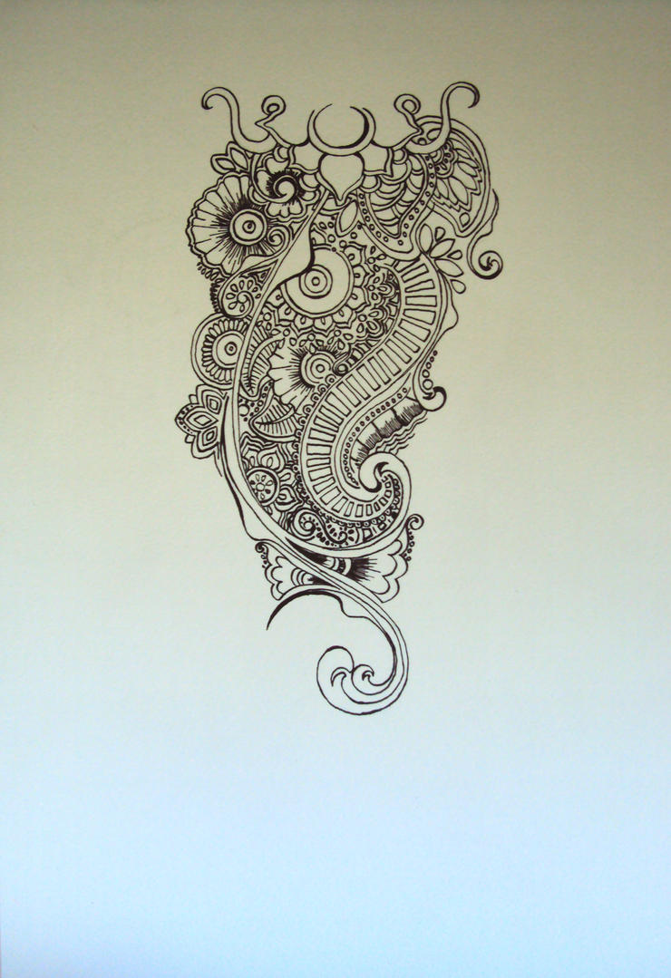 Henna Design Line Art : Henna inspired shoulder tattoo line art by
