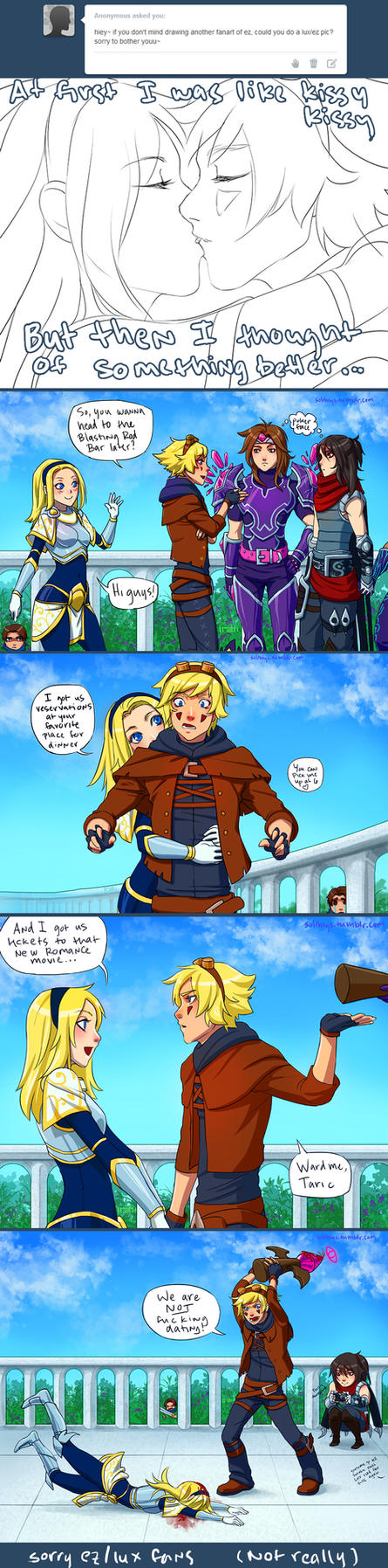 Lux keeps forgetting a key detail about Ezreal... by irahi