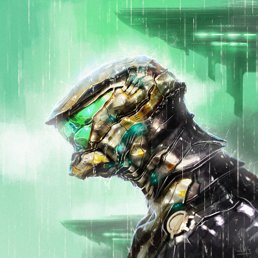 Robot in the rain by Dogsfather