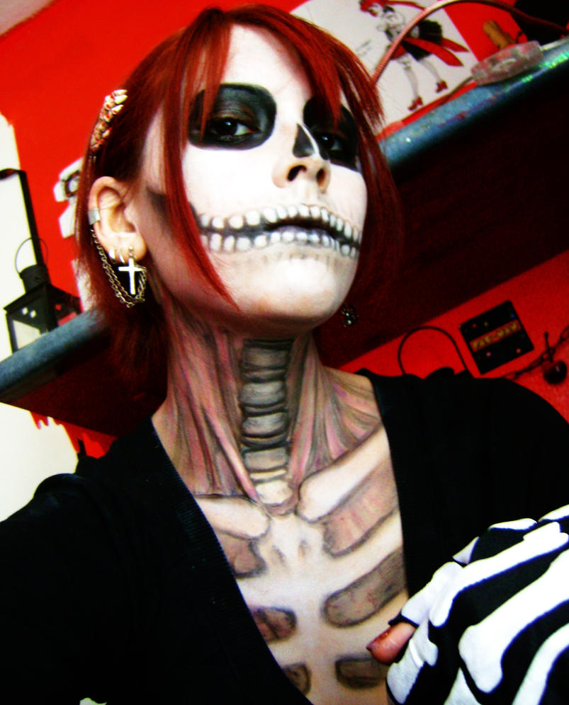Halloween MakeUp Skull Girl by RedStar-Sama