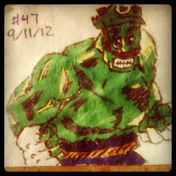 Napkin Art #47 - IncredibLuigi Hulk - NES Avengers by PeterParkerPA