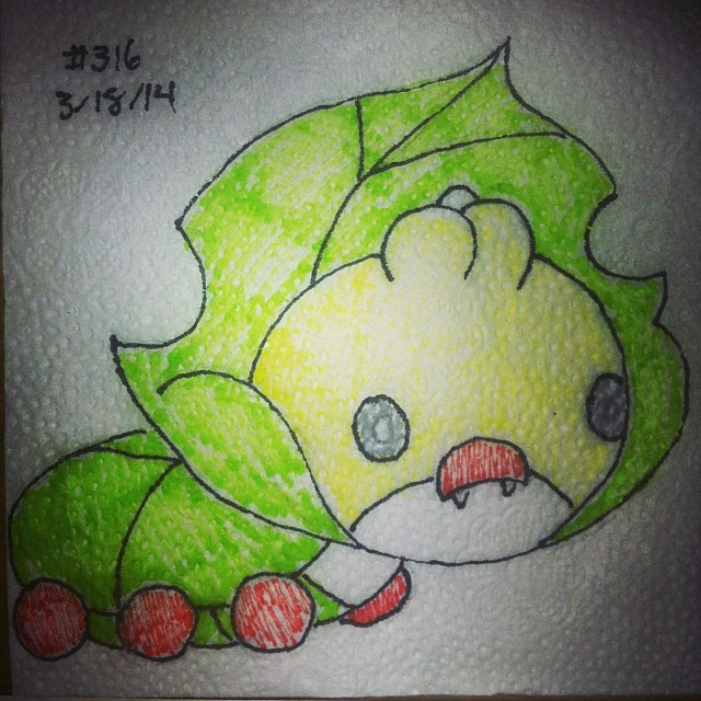 Napkin Art 316 - Sewaddle - Pokemon by PeterParkerPA