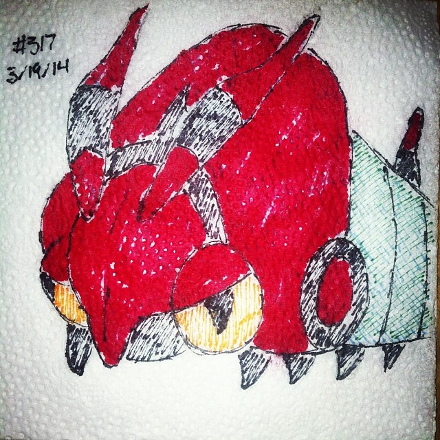 Napkin Art 317 - Venipede - Pokemon by PeterParkerPA