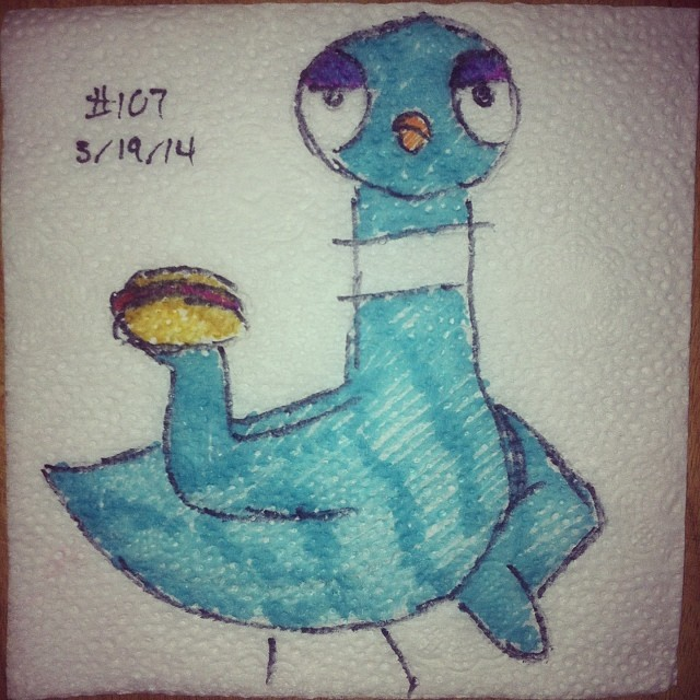 NapkinArt 107 - The Pigeon finds a Hot Dog by PeterParkerPA