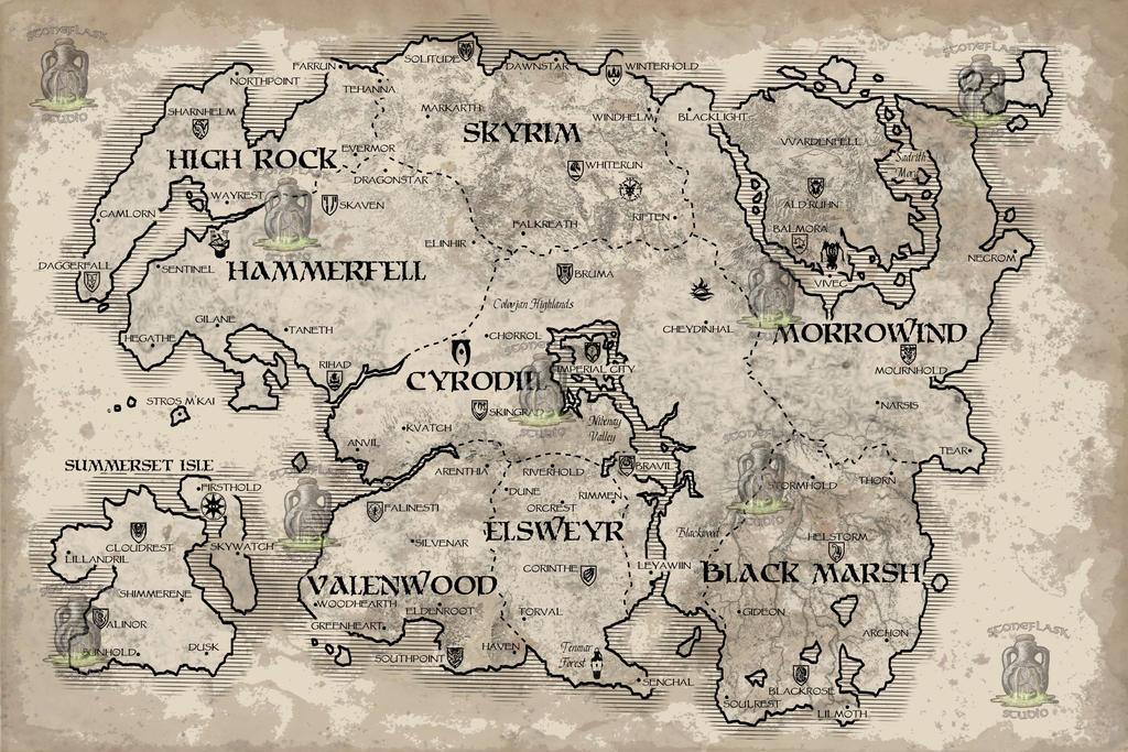 Elder Scrolls Map of Tamriel by PositronGaming on DeviantArt