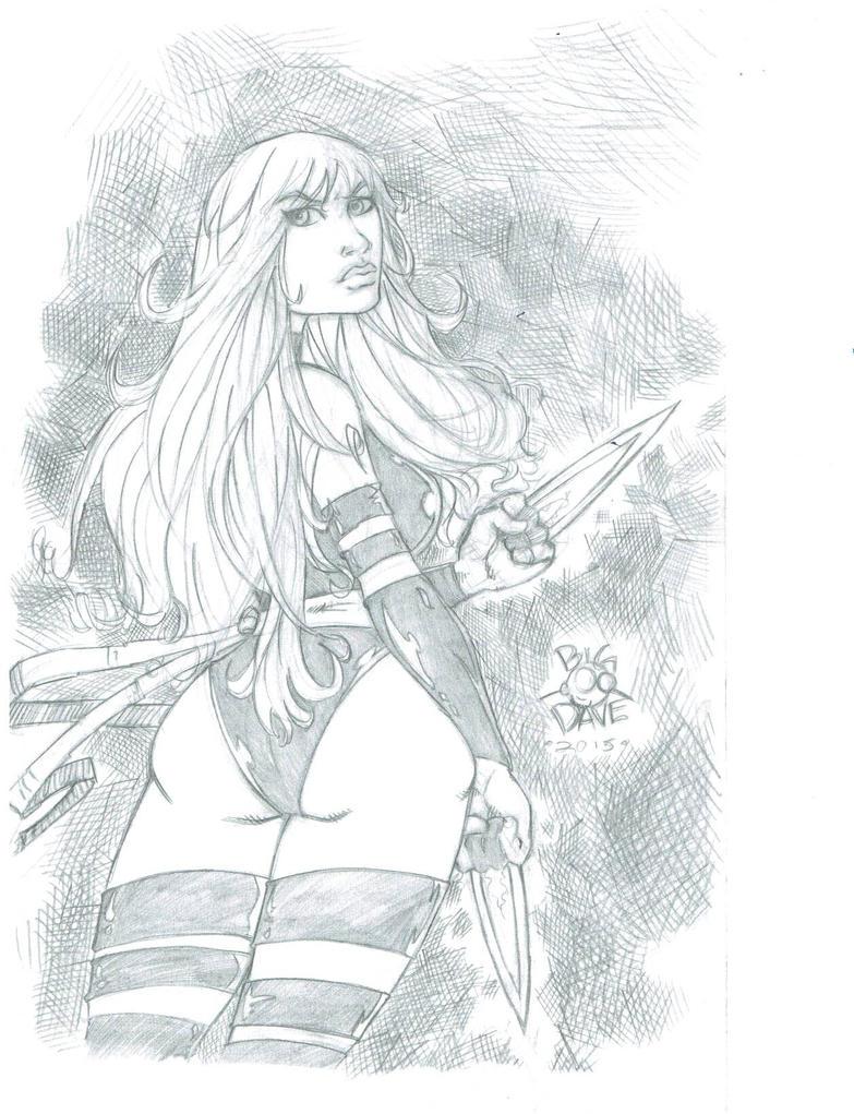 Psylocke pencil by BiggDave