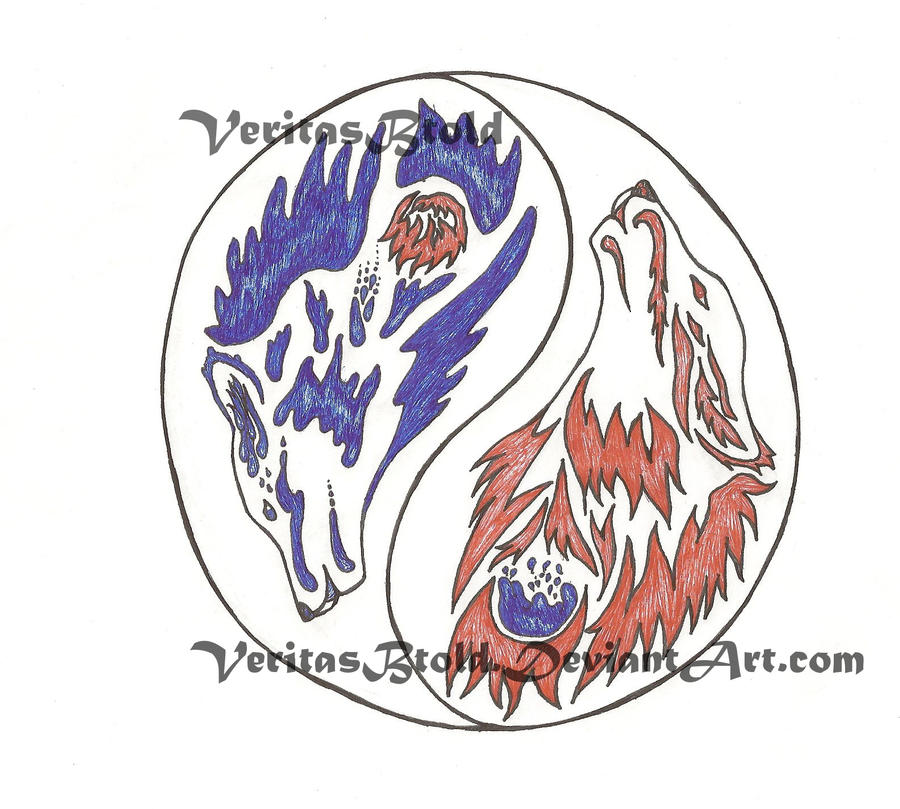 Fire and Water Yin Yang Wolves by veritasBtold