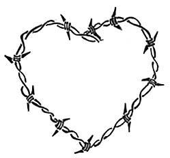 barbed wire heart drawing-#8