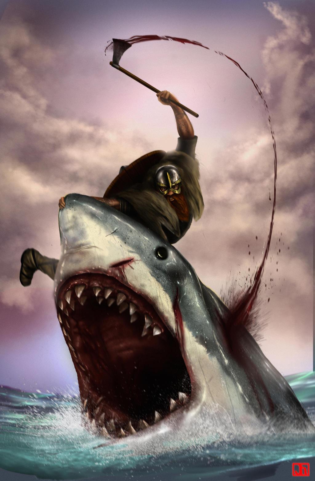 Viking vs. Shark by SharpWriter
