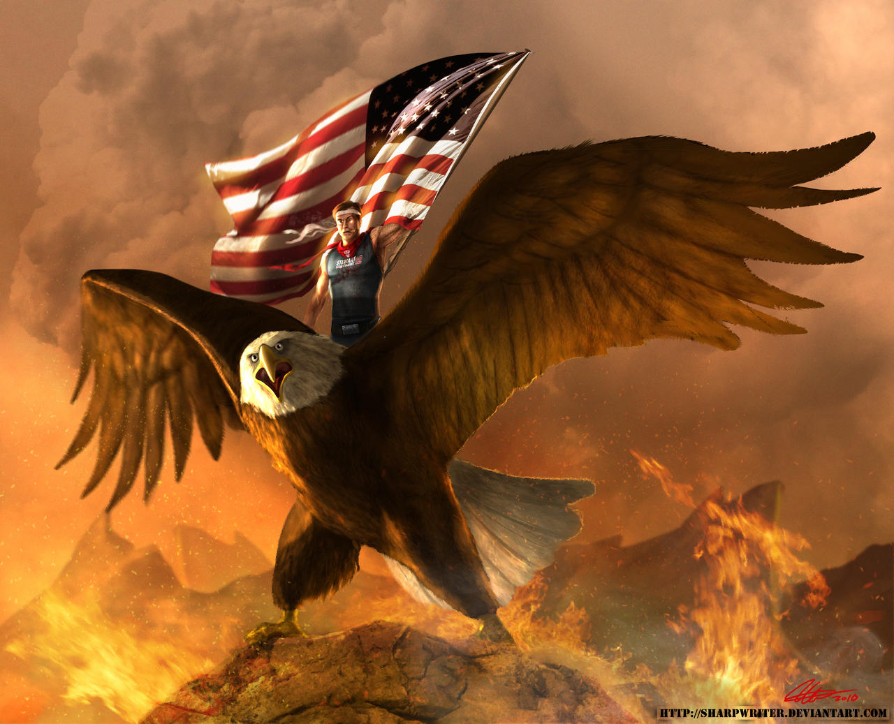 Stephen Colbert atop an eagle