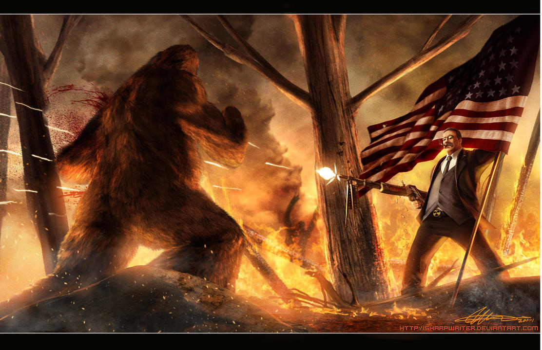 Teddy Roosevelt VS. Bigfoot by SharpWriter