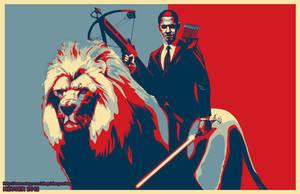 Obama Riding a Lion Poster
